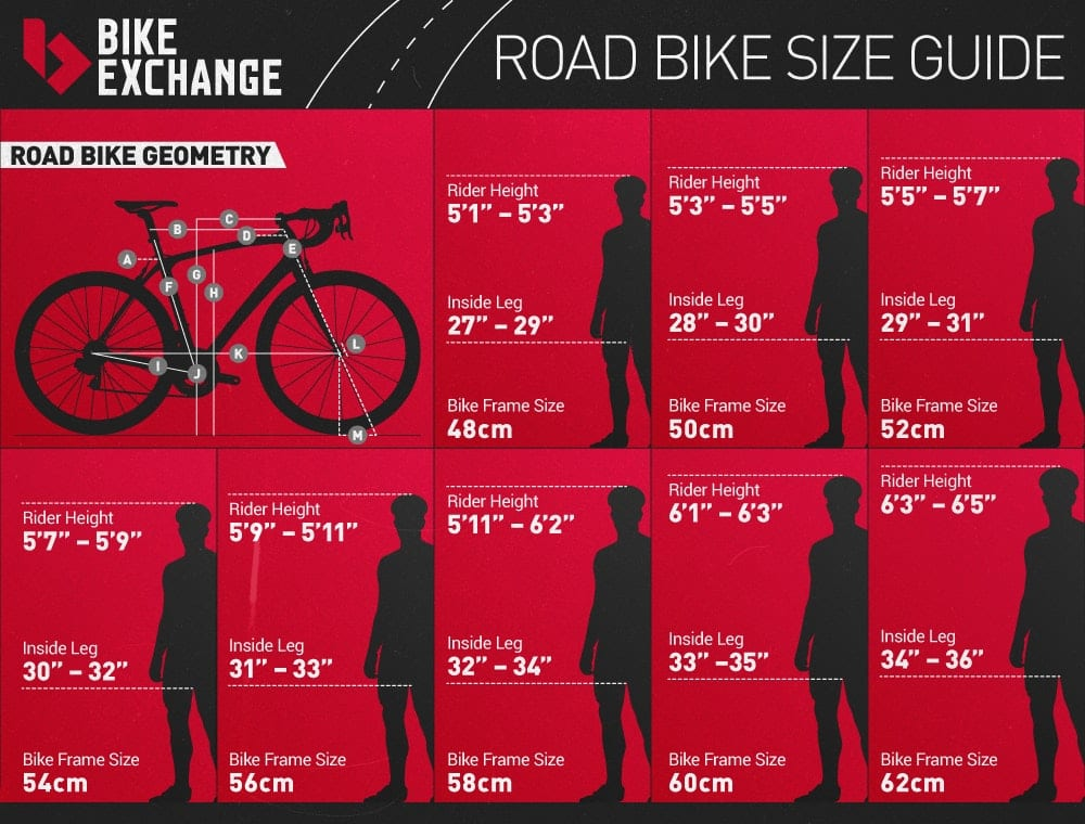 Road Bike Size Chart Bicycle New England